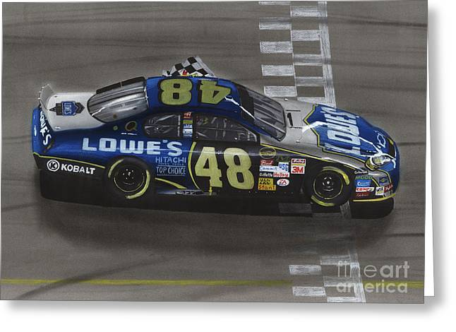 Jimmie Johnson Greeting Cards - Jimmie Johnson Wins Greeting Card by Paul Kuras