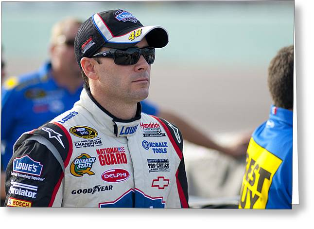 Jimmie Johnson Greeting Cards - Jimmie Greeting Card by Kevin Cable