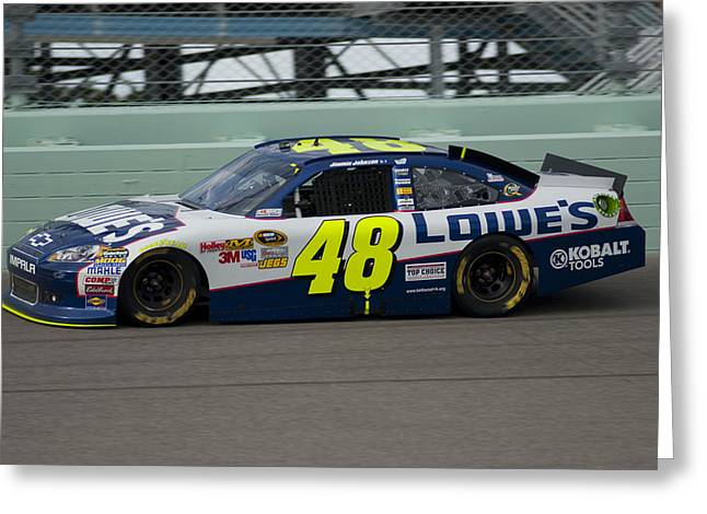 Jimmie Johnson Greeting Cards - Jimmie On Track Greeting Card by Kevin Cable
