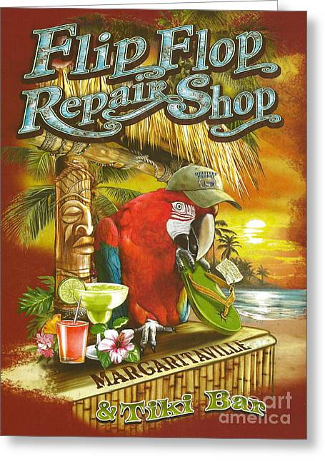 Tropical Beach Greeting Cards - Jimmy Buffetts Flip Flop Repair Shop Greeting Card by Desiderata Gallery