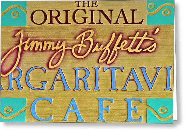 Parrot Head Greeting Cards - Jimmy Buffetts Key West Margaritaville Cafe Sign - The Original Greeting Card by John Stephens