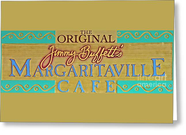 Menu Greeting Cards - Jimmy Buffetts Key West Margaritaville Cafe Sign - The Original Greeting Card by John Stephens