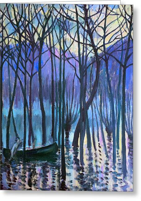 Canoe Paintings Greeting Cards - Jimmy Butler in His Canoe Flood Greeting Card by Theodore Earl Butler