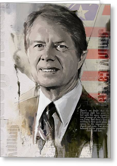 Garfield Greeting Cards - Jimmy Carter Greeting Card by Corporate Art Task Force