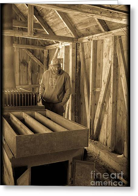 New Hampshire Greeting Cards - Jimmy in the old Mt. Cube Sugar House Greeting Card by Edward Fielding