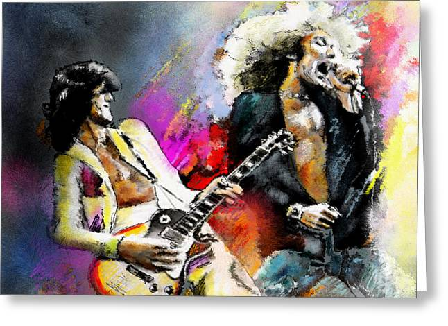Musician Greeting Cards - Jimmy Page and Robert Plant Led Zeppelin Greeting Card by Miki De Goodaboom