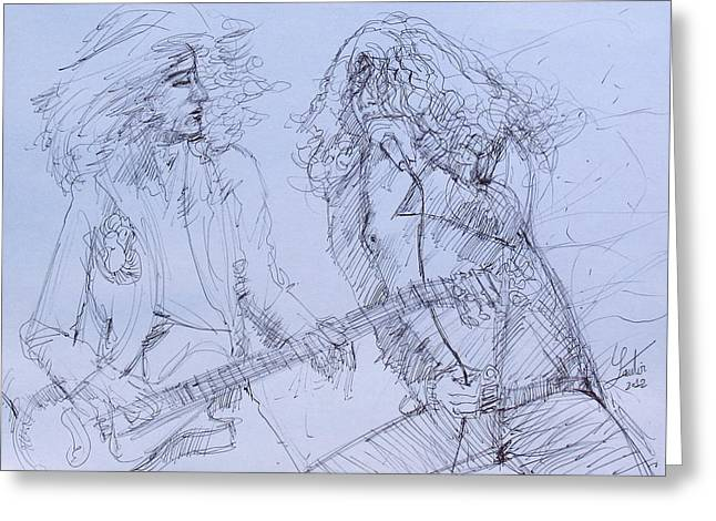 Plant Singing Greeting Cards - JIMMY PAGe and ROBERT PLANT live concert-pen portrait Greeting Card by Fabrizio Cassetta