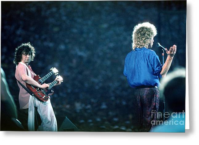 Robert Plant Paintings Greeting Cards - Jimmy Page and Robert Plant Greeting Card by Wernher Krutein