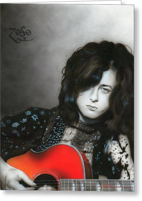 Hippy Greeting Cards - Jimmy Page Greeting Card by Christian Chapman Art