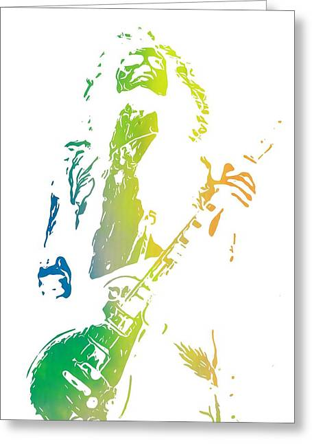 Live Music Digital Art Greeting Cards - Jimmy Page Greeting Card by Dan Sproul