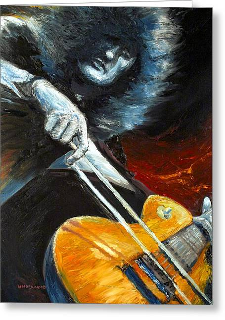 Jimmy Page Dazed And Confused Greeting Card by Mike Underwood