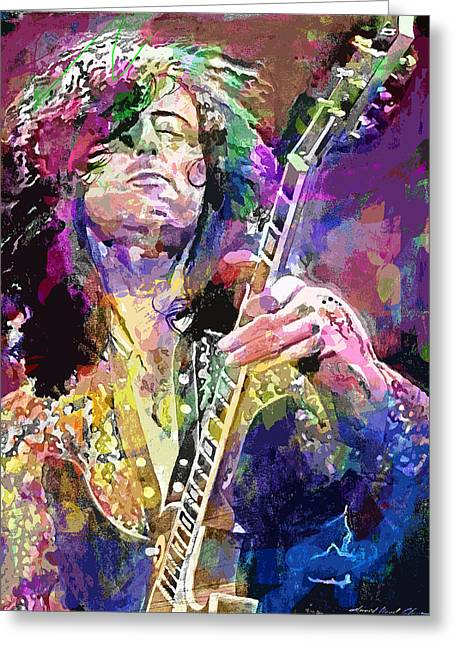 Best Sellers -  - British Portraits Greeting Cards - Jimmy Page Electric Greeting Card by David Lloyd Glover