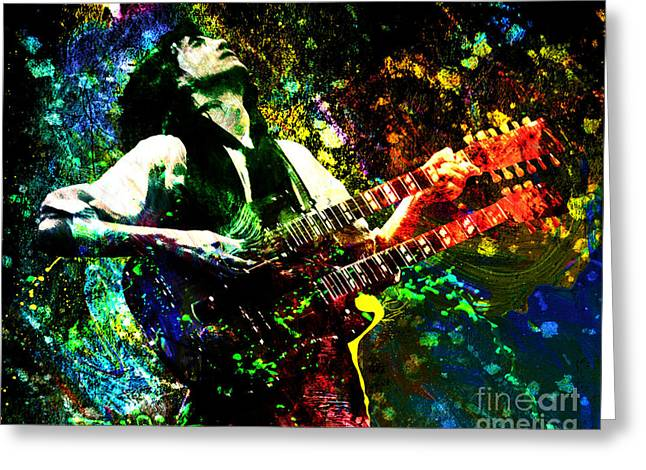 Led Zeppelin Prints Greeting Cards - Jimmy Page - Led Zeppelin - Original Painting Print Greeting Card by Ryan RockChromatic