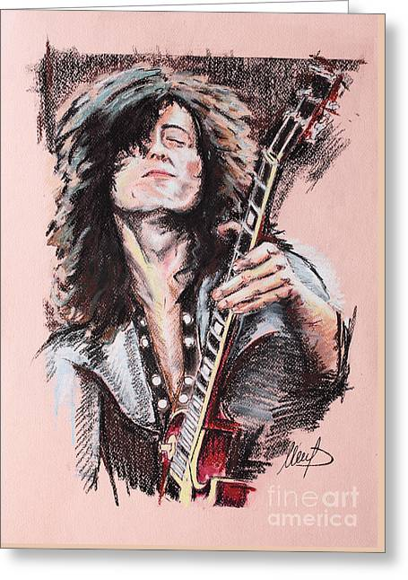 Led Zeppelin Greeting Cards - Jimmy Page Greeting Card by Melanie D