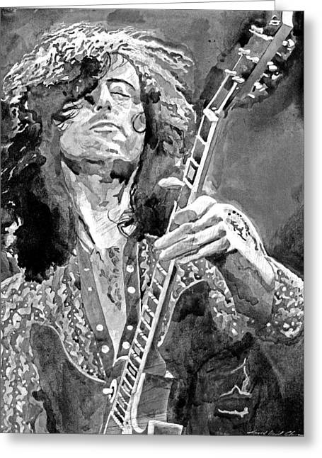 British Celebrities Greeting Cards - Jimmy Page Mono Greeting Card by David Lloyd Glover