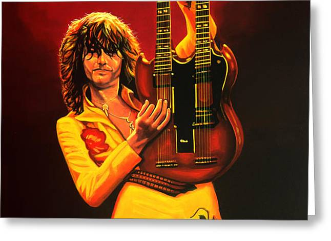 Jimmy Page Greeting Card by Paul  Meijering