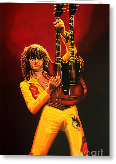 U2 Paintings Greeting Cards - Jimmy Page Greeting Card by Paul  Meijering