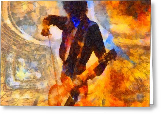 Jimmy Page Playing Guitar With Bow Greeting Card by Dan Sproul