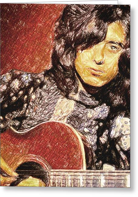 Led Zeppelin Prints Greeting Cards - Jimmy Page Greeting Card by Taylan Soyturk