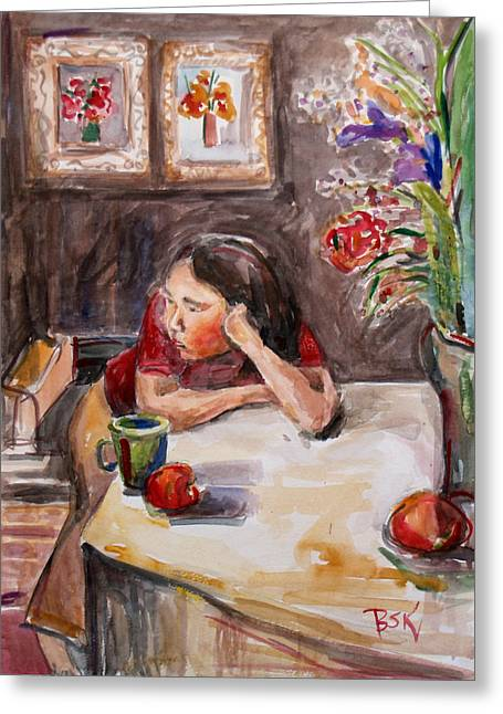 Portrait With Still Life Greeting Cards - Jinny Posing Greeting Card by Becky Kim