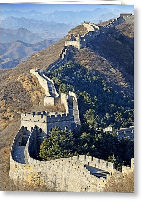 Watch Tower Greeting Cards - Jinshanling Section of the Great Wall of China Greeting Card by Brendan Reals