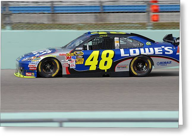 Jimmie Johnson Greeting Cards - Jj 48 Greeting Card by Kevin Cable