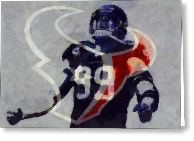Defensive Greeting Cards - JJ Watt Houston Texans Greeting Card by Dan Sproul