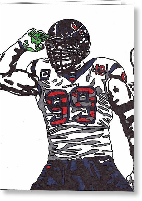 Player Drawings Greeting Cards - JJ Watt Greeting Card by Jeremiah Colley