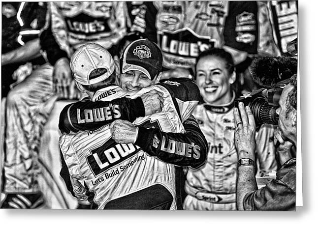 Jimmie Johnson Greeting Cards - JJ wins Chase Greeting Card by Kevin Cable