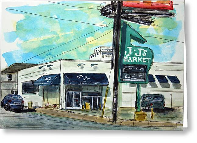 Recently Sold -  - Grocery Store Greeting Cards - JJs Midtown Market Greeting Card by Tim Ross