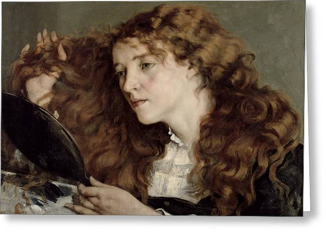 Recently Sold -  - A Hand Mirror Greeting Cards - Jo the Beautiful Irish Girl Greeting Card by Gustave Courbet