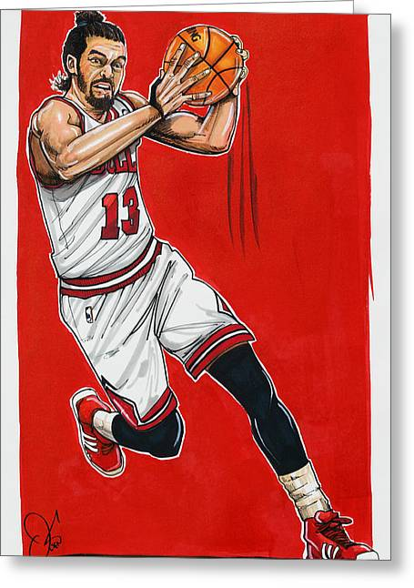 Chicago Bulls Art Drawings Greeting Cards - Joakim Noah Greeting Card by Dave Olsen