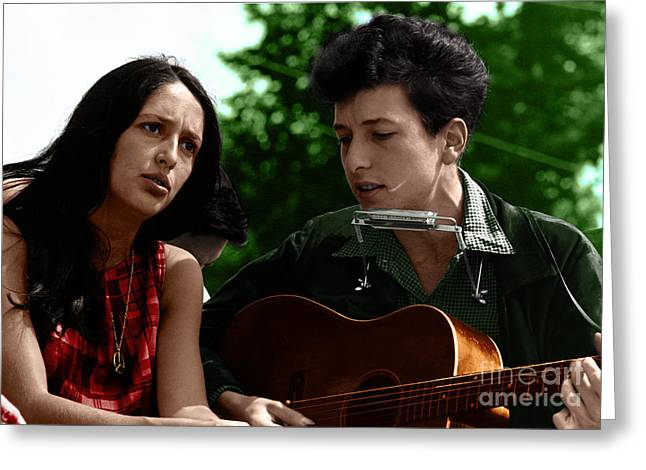Civil Rights Mixed Media Greeting Cards - Joan Baez with Bob Dylan Greeting Card by Celestial Images