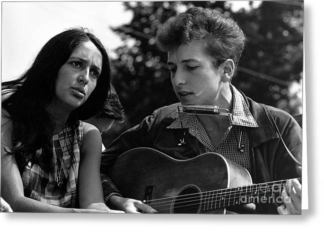 March On Washington Greeting Cards - Joan Baez with Bob Dylan Greeting Card by Celestial Images