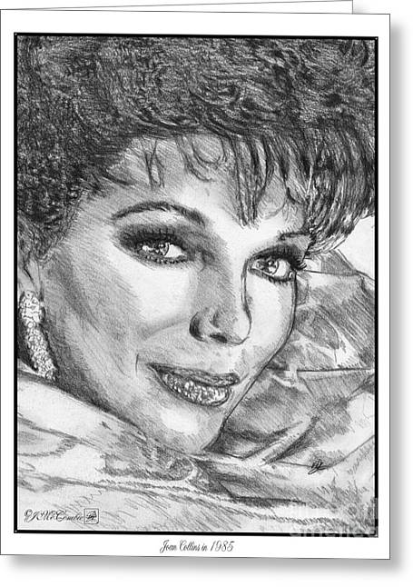 Columnist Greeting Cards - Joan Collins in 1985 Greeting Card by J McCombie