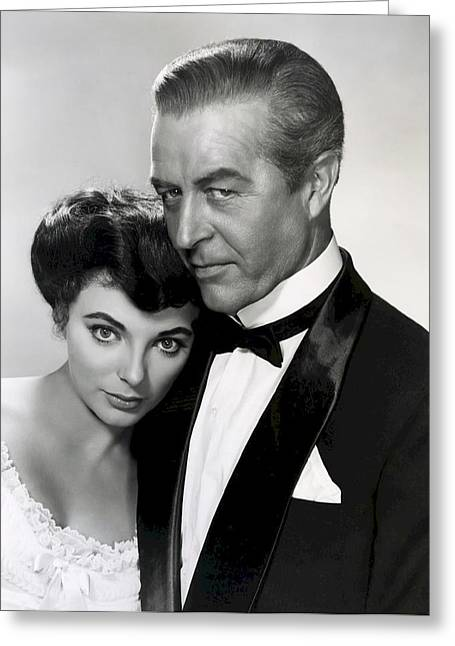 Academy Awards Oscars Greeting Cards - Joan Collins - Ray Milland Greeting Card by Daniel Hagerman