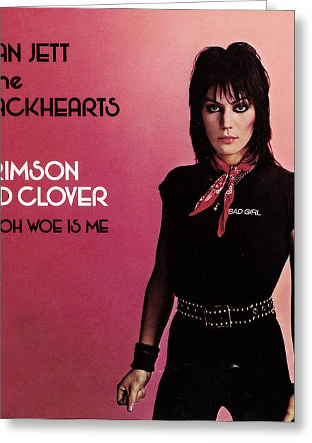 All Around Greeting Cards - Joan Jett - Crimson and Clover 1982 Greeting Card by Epic Rights