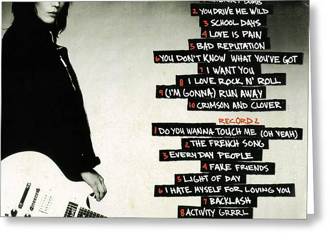 All Around Greeting Cards - Joan Jett - Greatest Hits 2010 - Back Cover Greeting Card by Epic Rights