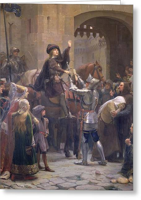 Martyrs Photographs Greeting Cards - Joan Of Arc 1412-31 Leaving Vaucouleurs, 23rd February 1429 Oil On Canvas Greeting Card by Jean-Jacques Scherrer
