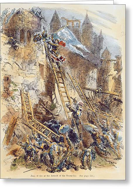Ladder Greeting Cards - Joan Of Arc At The Assault Of The Tournelles Colour Litho Greeting Card by English School