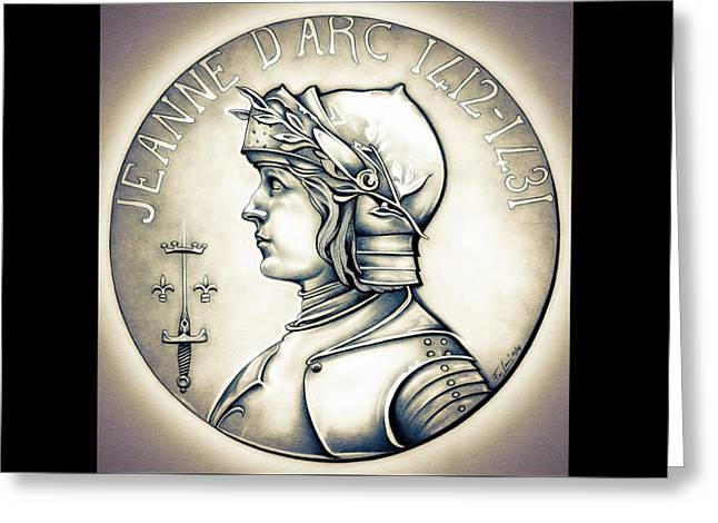 Silver Coins Greeting Cards - Joan of Arc - Original Greeting Card by Fred Larucci