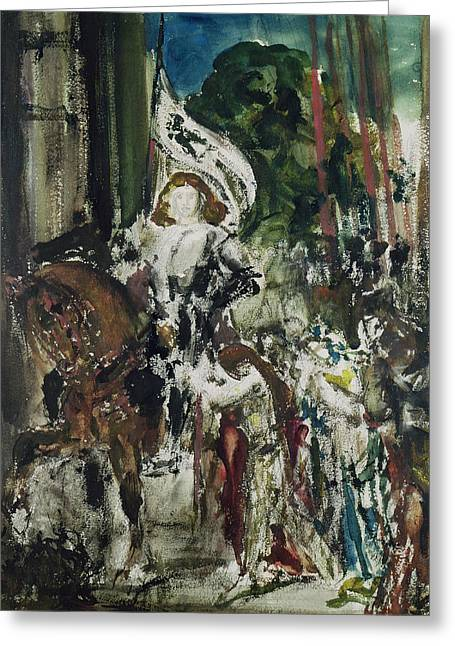 Gustave Moreau Greeting Cards - Joan of Arc Greeting Card by Gustave Moreau
