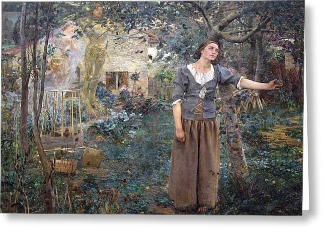 Joan Of Arc Greeting Card by Jules Bastien-Lepage