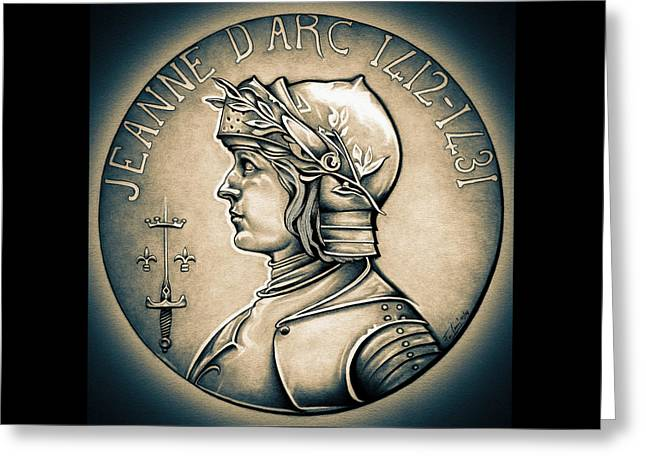 Silver Coins Greeting Cards - Joan of Arc - Middle Ages Greeting Card by Fred Larucci