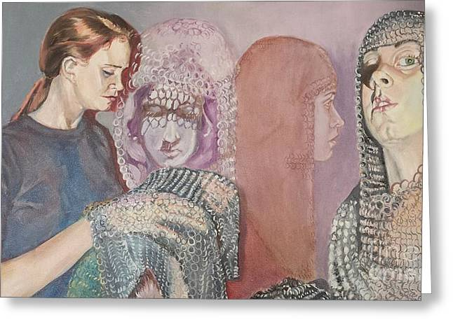 Chain Mail Greeting Cards - Joan of Arc One Greeting Card by Rosemary Kavanagh