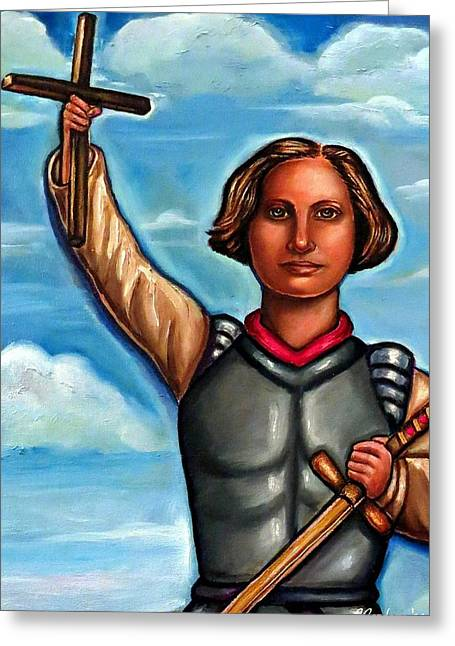 Recently Sold -  - Religious Mixed Media Greeting Cards - Joan of Arc - The Maiden Greeting Card by Carmen Cordova