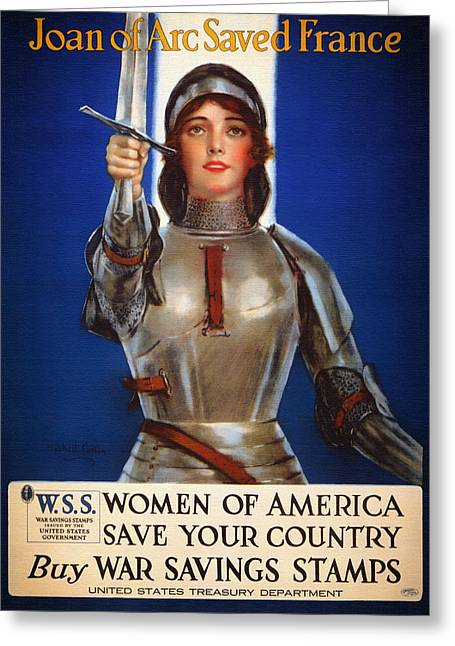 Posters Of Women Mixed Media Greeting Cards - Joan of Arc War Stamps Poster 1918 Greeting Card by Mountain Dreams