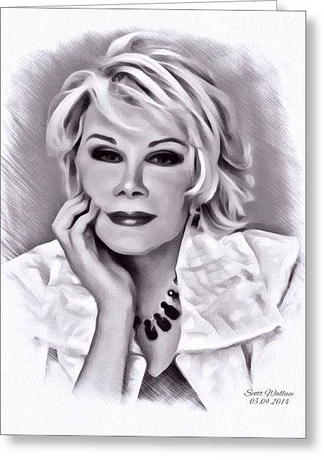 Digital Designs Greeting Cards - Joan Rivers Greeting Card by Scott Wallace