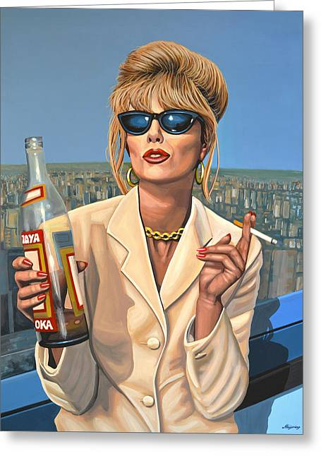 Sensitive Greeting Cards - Joanna Lumley as Patsy Stone Greeting Card by Paul Meijering