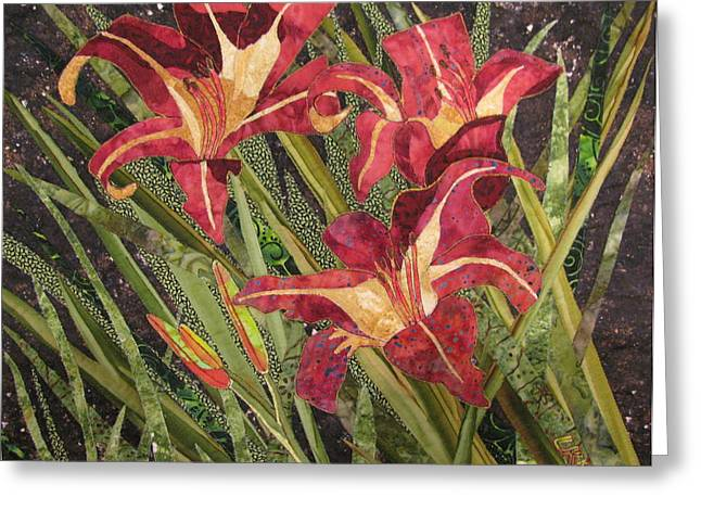 Collage Tapestries - Textiles Greeting Cards - Joans Daylilies Greeting Card by Lynda K Boardman